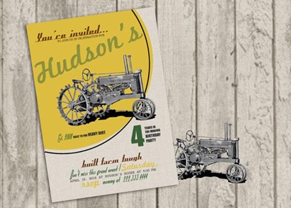 Vintage Tractor Invite