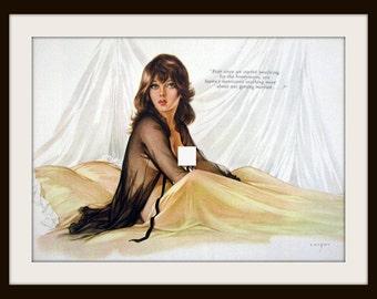 VARGAS Girl Honeymoon Pin Up Art Print, Vintage Nude Art Wall Decor, Mature