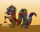 Baby Dragon Wishing You Happy New Year - Fine Art Print