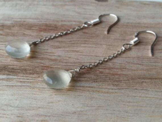 Moonstone briolette silver sterling earrings, faceted drops, gemstones, chain