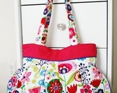 Spring Flowers Bag-pleated with pink and blue lining