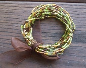 Gold, Green, Brown, and Tan Mix Glass Bead Stacked Elastic Stretch Bracelet