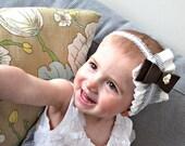 Baby girl headbands, bows and ruffles headband, blue stripes shabby chic