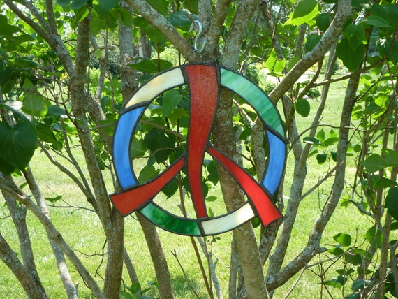 Colorful stained glass peace sign
