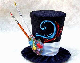Tiny Top Hat: The Artist - Red Blue water Fire Paint paintbrushes brush artistic palete unique beautiful hand painted handpainted party