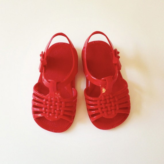 1970's Red Jelly Sandals - Size 3 (infant)
