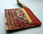 Upcycled Zipper Wristlet - Indian Tapestry