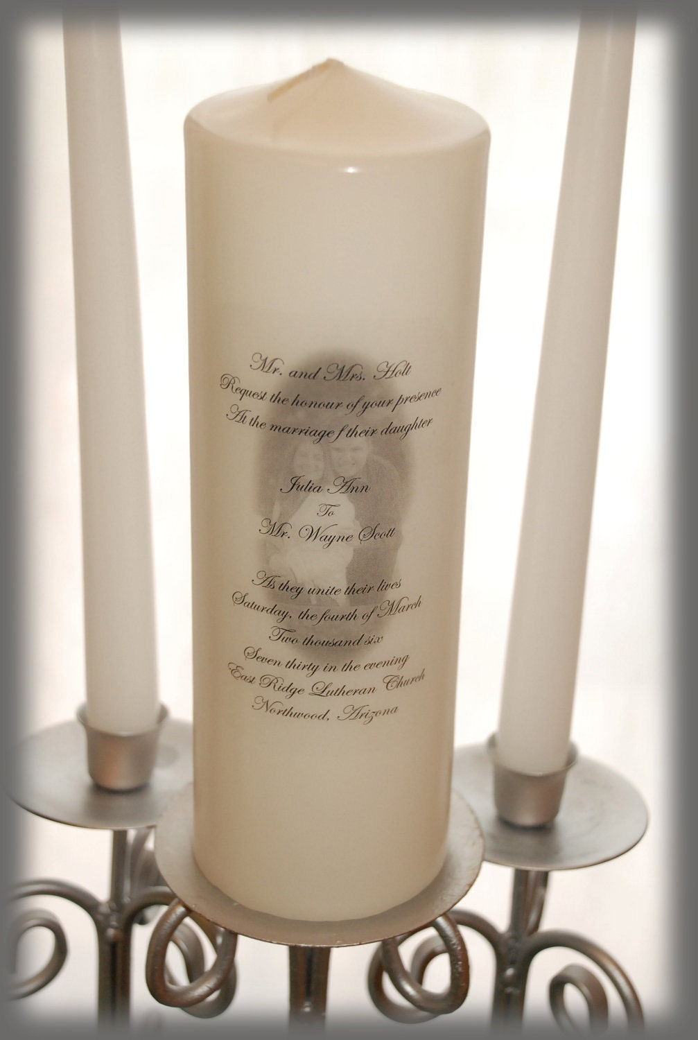 Personalized Unity Candle With Your Picture And Invitation
