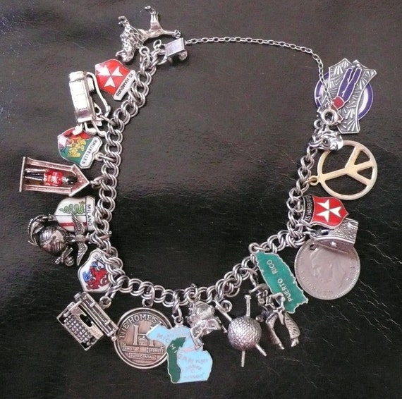 Vintage Silver Charm Bracelet with apollo and variety of charms