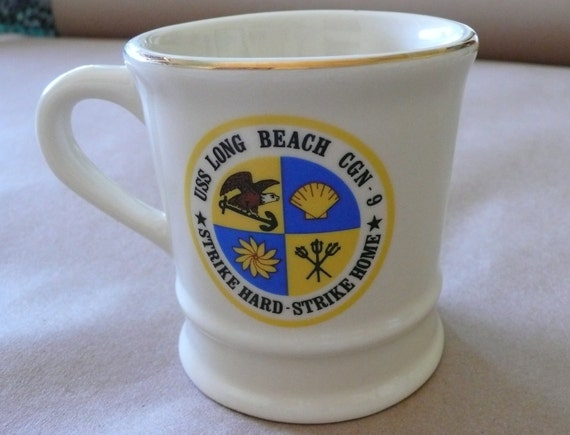 Vintage USS Long Beach CGN-9 Strike Hard Strike Home Motto Mug Cup  Shaving mug Rare