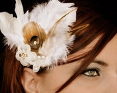 Bridal  Fascinator , Mocha peacock feather,  vintage  accessory ,  Headpiece , ivory beads , white feathers , hair jewelry