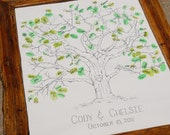 Wedding or Family Tree- Hand Drawn Thumbprint Guest Book Large Size Fits 160-220 Thumbs