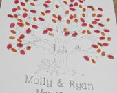 Wedding Tree Thumbprint Guest Book with Bench Detail- Medium Size Fits 90-150 Thumbs
