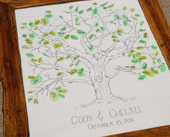 Wedding or Family Tree Hand Drawn Thumbprint Guest Book Large