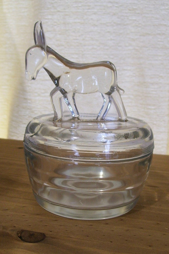 Vintage Democrat Donkey Depression Glass Candy Trinket Dish