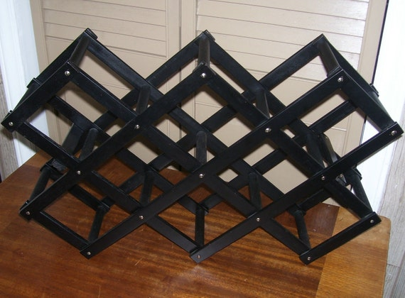 Vintage Wine Rack Wood Black Accordion Collapsible Folding Wine Rack Holds 10 Bottles