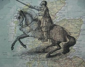 Medieval Knight Print  On Atlas Map Of Scotland 8x10