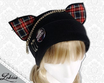 Cat Kitty Fleece Hat  Anime Cosplay Punk JRock  (Nippon Banzai Red Plaid Ears)