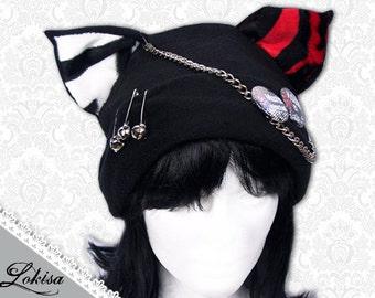Cat Kitty Fleece Hat  Anime Cosplay Punk JRock  (White & Red Tiger Ears)