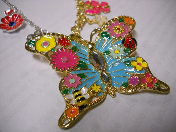 Pastel Butterfly Necklace - Gold and Silver Chain