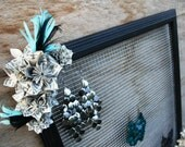 Earring Holder/Display with Necklace Hanger Accented with Origami Flowers and Feathers (Frame Your Style)
