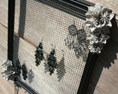 Earring Holder with Necklace Hooks Accented by Recycled Paper Origami Flowers (Frame Your Style)