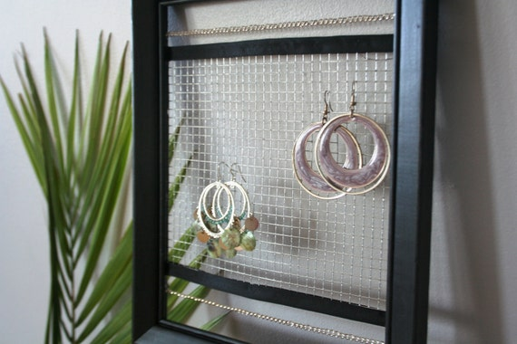 Black Earring Holder with Traditional Flair       (Frame Your Style)