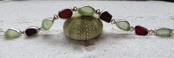 Red Sea Glass and Sea Foam Green Bracelet