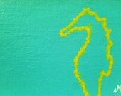 Beach cottage decor outline Seahorse painting teal and lime green