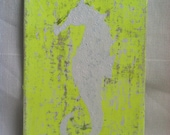 Beach decor seahorse painting Abstract, Antiqued, neon yellow and white