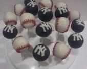 Yankees Baseball Cake Pops (10)