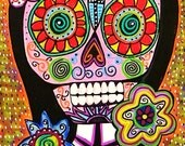 Frida Pink Sugar Skull**-SILBERZWEIG ORIGINAL Art PRINT- Day of the Dead, Skeleton, Flower, Mexican, Día de los Muertos, Calavera Boho, Goth