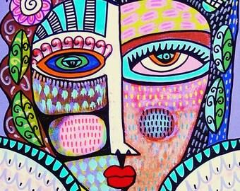 Tribal Lavender Angel - SILBERZWEIG ORIGINAL PRINT- Mexican, Folk, Primitive, Day Of The Dead, Talavera, Sugar Skull, Goddess, Ethnic, Goth