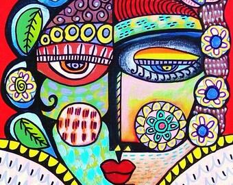 Tribal Ruby Angel - SILBERZWEIG ORIGINAL PRINT - Mexican, Folk, Primative, Day Of The Dead, Talavera, Sugar Skull, Goddess, Ethnic, Boho