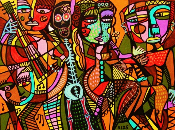 Day of the Dead Lovers Tango** - SILBERZWEIG ORIGINAL Art PRINT- Mexican, Primative, Tribal, Sexy, Cubism, Frida & Diego, Skeleton, Guitar