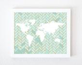 World Map on Chevron In Light Blue & Orange 8x10