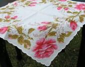 Vintage Pink Rose Handkerchief 760