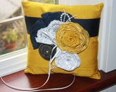 Solor Power Yellow and Navy Ring Bearer Pillow 876