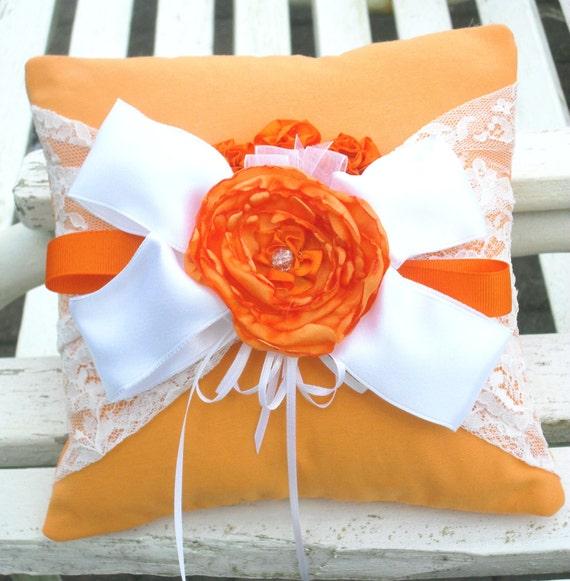 SALE Soft Orange,Tangerine Tango and White Ring  Bearer Pillow 929