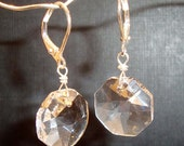 Clear Octagon Crystal Earrings Victoria Crystal Earrings Wire Wrapped Silver Earrings