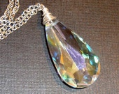 Clear Swarovski Crystal Necklace Teardrop Necklace Wire Wrapped Pendant Necklace Silver Necklace