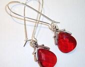 Teardrop Red Glass Earrings Glass Earrings Briolette Earrings Pendant Silver Earrings Kidney