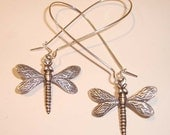 Dragonfly Earrings Silver Earrings Long Drop Kidney