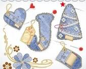 Clip Art Paper denim scrapbook elements,  for digital scrapbooking, invites, cards