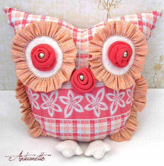 Owl Pillow. Owl Decor. Orange owl pillow. Original design, one-of-a-kind. Rusteam