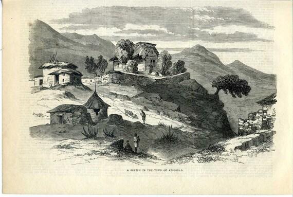 1868 Abyssinia Town of Adigerat ETHIOPIA Wood Engraving Print