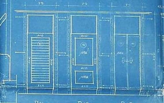 50s China Architectural Blueprints School Door & Window