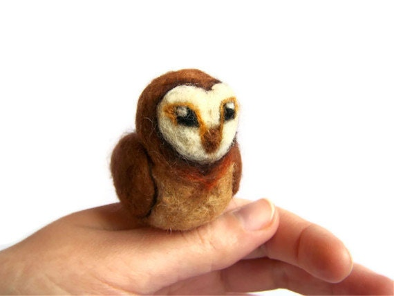 Needle Felted Owl - Miniature Tawny Owl Bird Sculpture