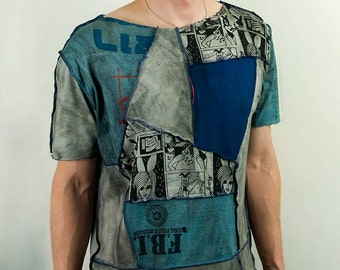Steampunk t-shirt in gray and blue