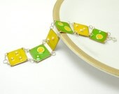 SALE 50% off  - Colorful Enamel  - enamel bracelet - yellow and green , sterling silver and copper